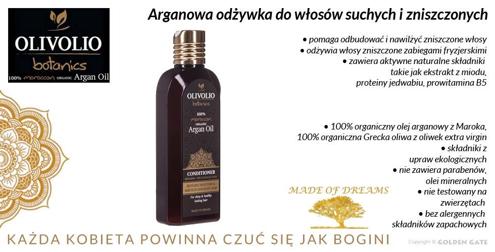 Odżywka do włosów suchych i zniszczonych z 100% organicznym olejem arganowym i oliwą z oliwek extra virgin