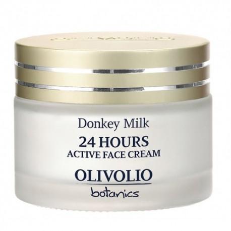 24h Aktywny Krem Nawilżający do Twarzy z Oślim Mlekiem 50ml Olivolio Donkey Milk