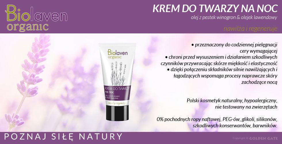 Krem na noc do twarzy Biolaven Organic naturalne kosmetyki