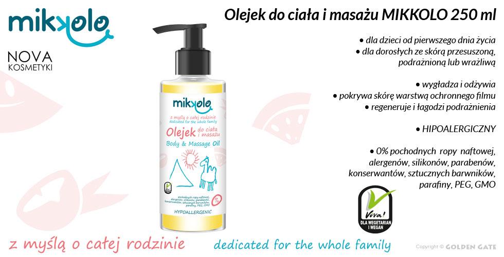 olejek dla dzieci do ciała i masażu Mikkolo 250ml
